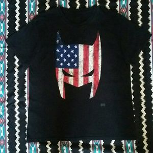 DC Comics Originials Black Batman Shirt U.S. Flag